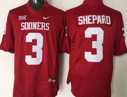 Men's Oklahoma Sooners #3 Sterling Shepard Red College Football Nike Jersey