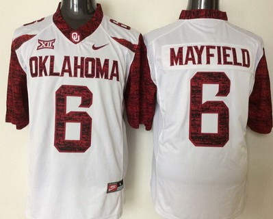 Men's Oklahoma Sooners #6 Baker Mayfield White 2016 College Football Nike Jersey