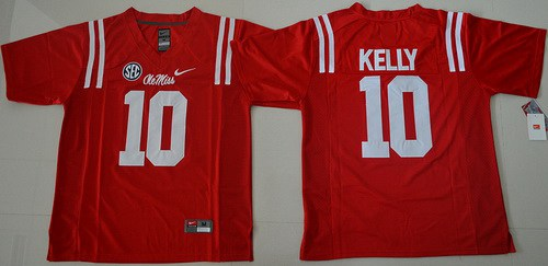 Men's Ole Miss Rebels #10 Chad Kelly Red College Football Nike Jersey