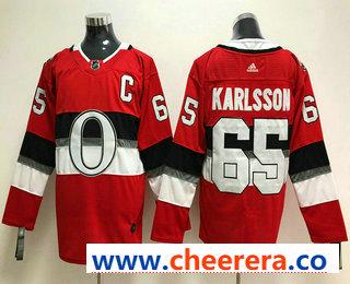 Men's Ottawa Senators #65 Erik Karlsson Red 2018 Winter Classic Stitched NHL Hockey Jersey