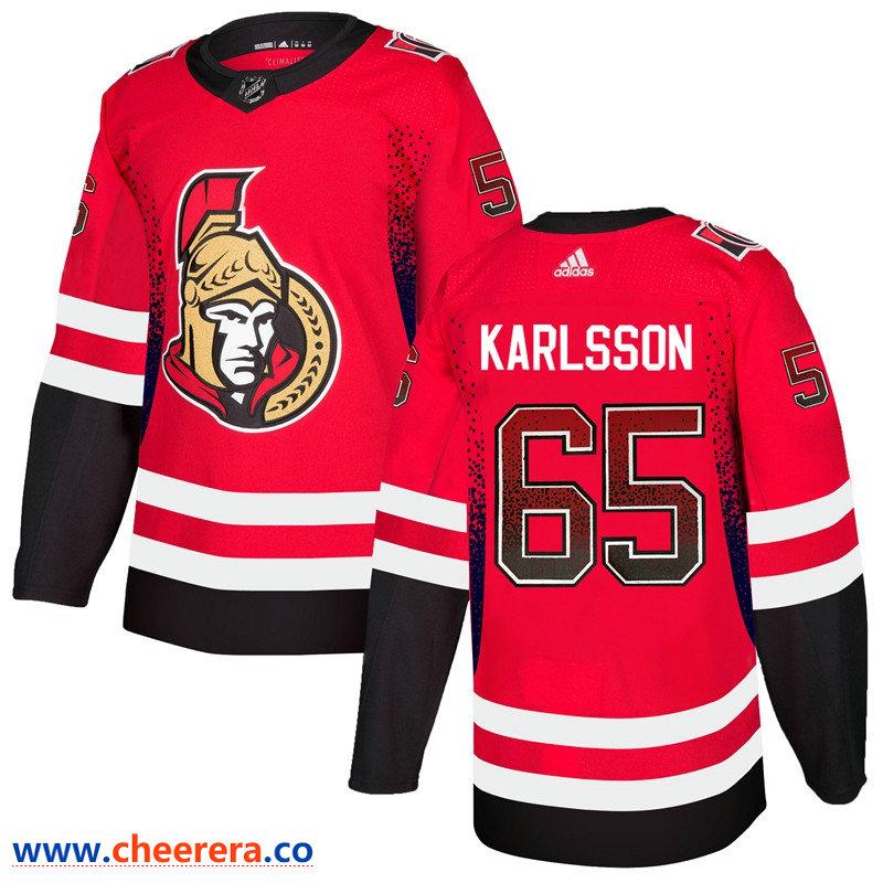 Men's Ottawa Senators #65 Erik Karlsson Red Drift Fashion Adidas Jersey