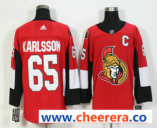 Men's Ottawa Senators #65 Erik Karlsson Red With C Patch Home 2017-2018 Hockey Stitched NHL Jersey