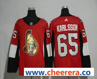 Men's Ottawa Senators #65 Erik Karlsson Red With Handwork Sequin Fashion Team Logo Home 2017-2018 Hockey Stitched NHL Jersey
