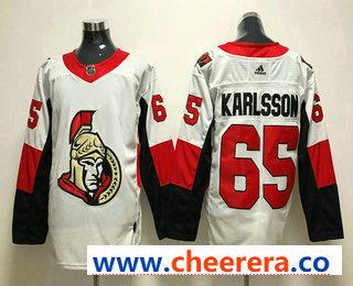 Men's Ottawa Senators #65 Erik Karlsson White 2017-2018 Hockey Stitched NHL Jersey
