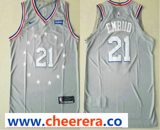 Men's Philadelphia 76ers #21 Joel Embiid Gray 2018-19 City Edition Nike Authentic Stubhub Stitched NBA Jersey