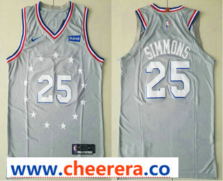 Men's Philadelphia 76ers #25 Ben Simmons Gray 2018-19 City Edition Nike Authentic Stubhub Stitched NBA Jersey