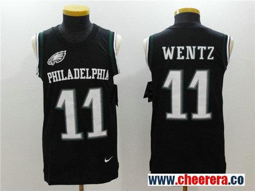 Men's Philadelphia Eagles #11 Carson Wentz Black Color Rush 2017 Vest Stitched NFL Nike Tank Top Jersey