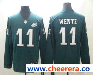 Men's Philadelphia Eagles #11 Carson Wentz Nike Green Therma Long Sleeve Limited Jersey