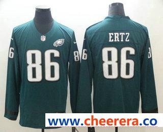 Men's Philadelphia Eagles #86 Zach Ertz Nike Green Therma Long Sleeve Limited Jersey