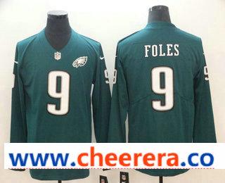 Men's Philadelphia Eagles #9 Nick Foles Nike Green Therma Long Sleeve Limited Jersey