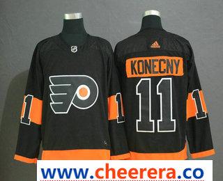 Men's Philadelphia Flyers #11 Travis Konecny Black Adidas Stitched NHL Jersey