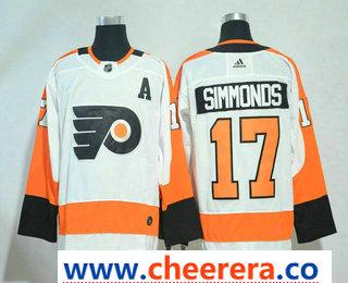 Men's Philadelphia Flyers #17 Wayne Simmonds White With A Patch 2017-2018 Hockey Stitched NHL Jersey