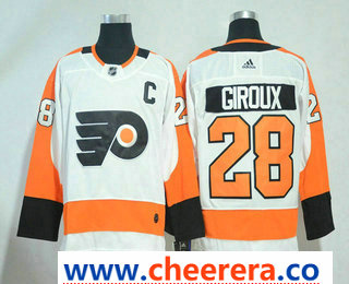 Men's Philadelphia Flyers #28 Claude Giroux White With C Patch 2017-2018 Hockey Stitched NHL Jersey