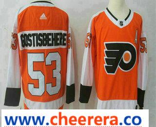 Men's Philadelphia Flyers #53 Shayne Gostisbehere Orange Home 2017-2018 Hockey Stitched NHL Jersey