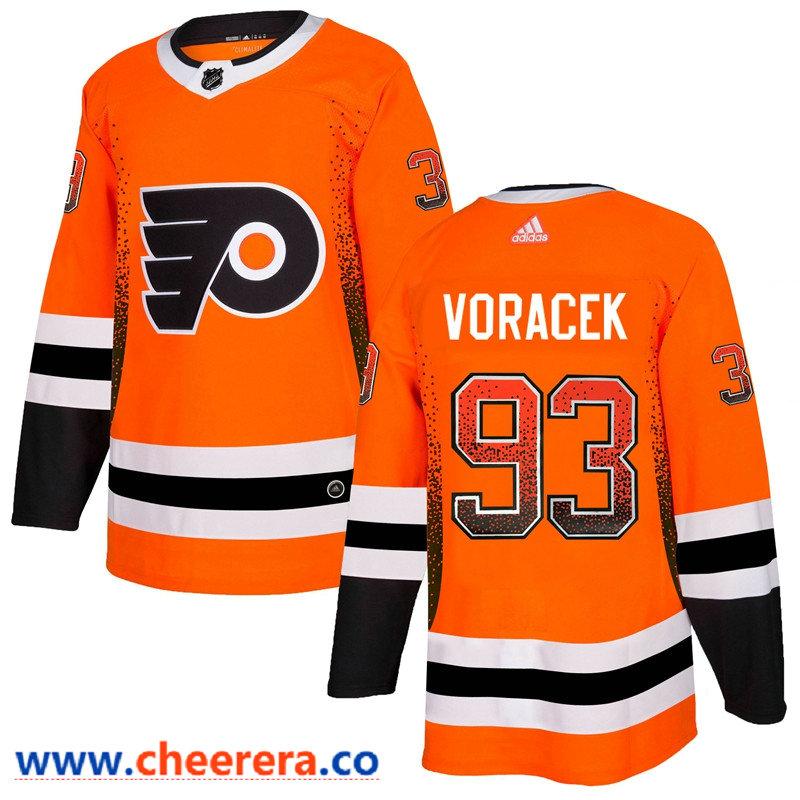 Men's Philadelphia Flyers #93 Jakub Voracek Orange Drift Fashion Adidas Jersey