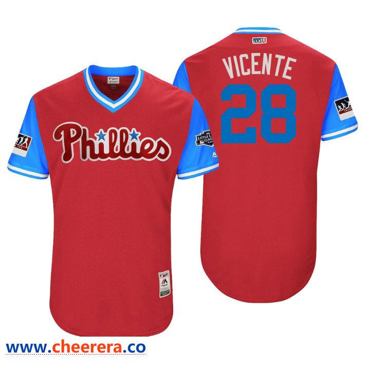 Men's Philadelphia Phillies Little League Classic Patch Vince Velasquez #28 Scarlet 2018 LLWS Players Weekend Vicente Jersey