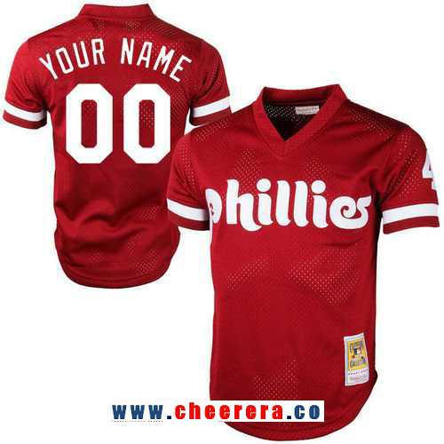 Men's Philadelphia Phillies Red Mesh Batting Practice Throwback Majestic Cooperstown Collection Custom Baseball Jersey