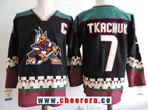 Men's Phoenix Coyotes #7 Keith Tkachuk Black 1998 CCM Vintage Stitched NHL Hockey Throwback Jersey