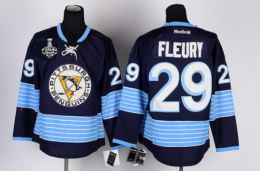 Men's Pittsburgh Penguins #29 Marc-Andre Fleury Navy Blue Third 2017 Stanley Cup NHL Finals Patch Jersey