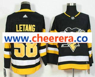 Men's Pittsburgh Penguins #58 Kris Letang Black Home 2017-2018 Hockey Stitched NHL Jersey