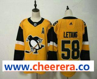 Men's Pittsburgh Penguins #58 Kris Letang Yellow Alternate Adidas Stitched NHL Jersey