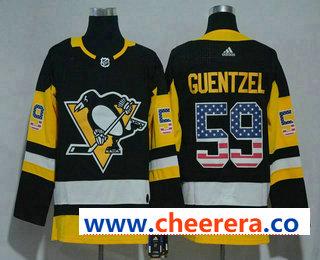 Men's Pittsburgh Penguins #59 Jake Guentzel Black With USA Flag 2017-2018 Hockey Stitched NHL Jersey