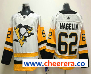Men's Pittsburgh Penguins #62 Carl Hagelin White 2017-2018 Hockey Stitched NHL Jersey