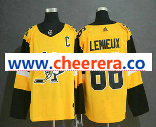 Men's Pittsburgh Penguins #66 Mario Lemieux Yellow Alternate Adidas Stitched NHL Jersey