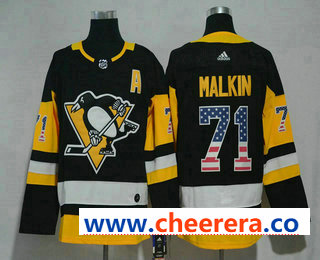 Men's Pittsburgh Penguins #71 Evgeni Malkin Black With USA Flag 2017-2018 Hockey Stitched NHL Jersey