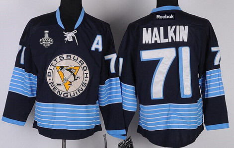 Men's Pittsburgh Penguins #71 Evgeni Malkin Navy Blue Third 2017 Stanley Cup NHL Finals A Patch Jersey