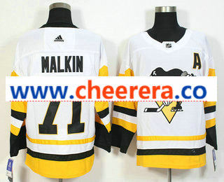 Men's Pittsburgh Penguins #71 Evgeni Malkin White 2017-2018 Hockey Stitched NHL Jersey