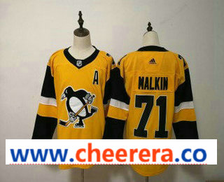 Men's Pittsburgh Penguins #71 Evgeni Malkin Yellow Alternate Adidas Stitched NHL Jersey