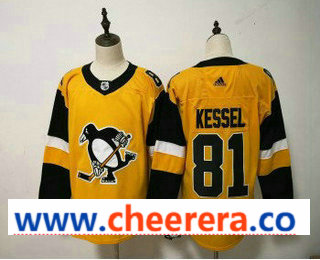 Men's Pittsburgh Penguins #81 Mary Hessel Yellow Alternate Adidas Stitched NHL Jersey