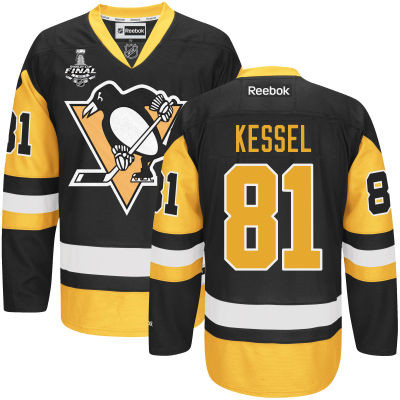 Men's Pittsburgh Penguins #81 Phil Kessel Black Third 2017 Stanley Cup NHL Finals Patch Jersey