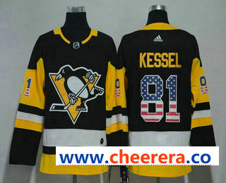 Men's Pittsburgh Penguins #81 Phil Kessel Black With USA Flag 2017-2018 Hockey Stitched NHL