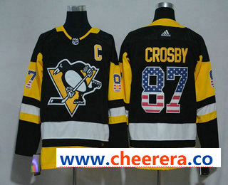 Men's Pittsburgh Penguins #87 Sidney Crosby Black With USA Flag 2017-2018 Hockey Stitched NHL Jersey