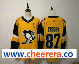 Men's Pittsburgh Penguins #87 Sidney Crosby Yellow Alternate Adidas Stitched NHL Jersey
