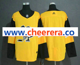 Men's Pittsburgh Penguins Blank Yellow Alternate Adidas Stitched NHL Jersey