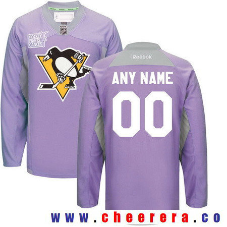 Men's Pittsburgh Penguins Purple Pink Custom Reebok Hockey Fights Cancer Practice Jersey