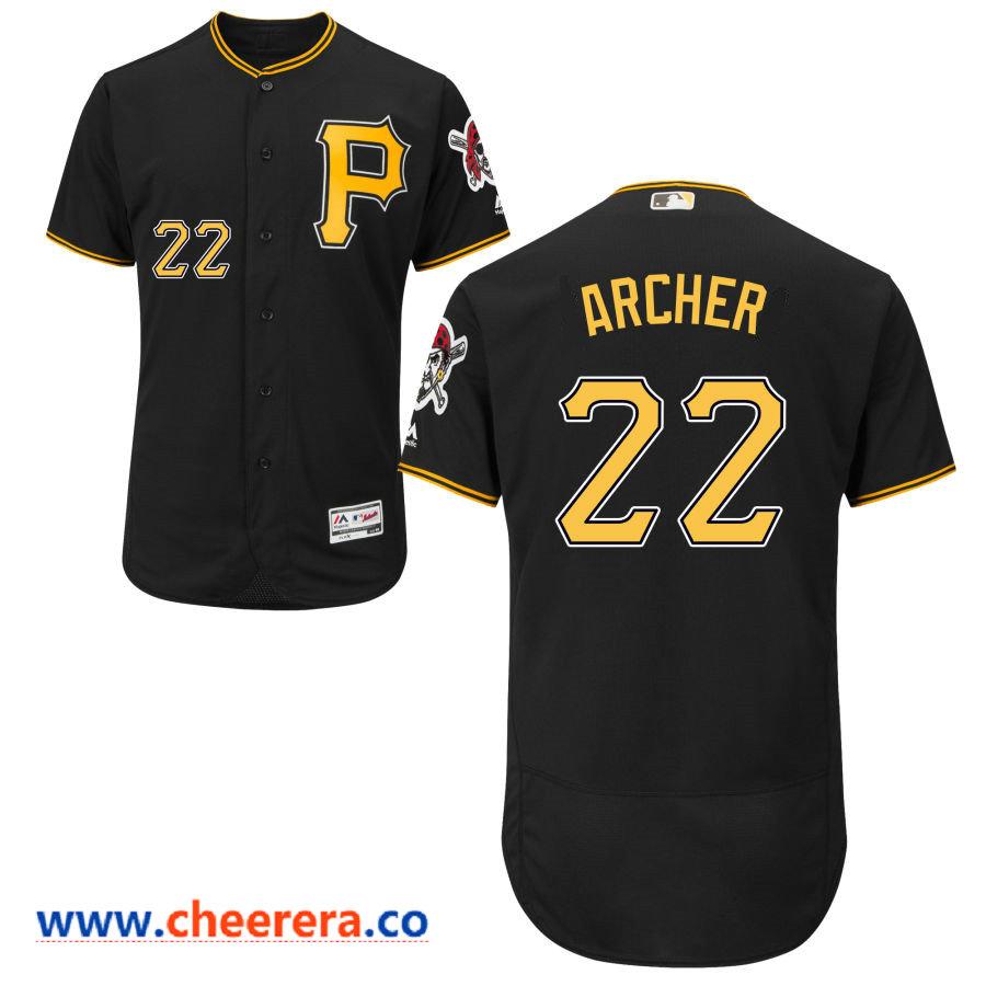 Men's Pittsburgh Pirates #22 Chris Archer Majestic Black Flex Base Jersey