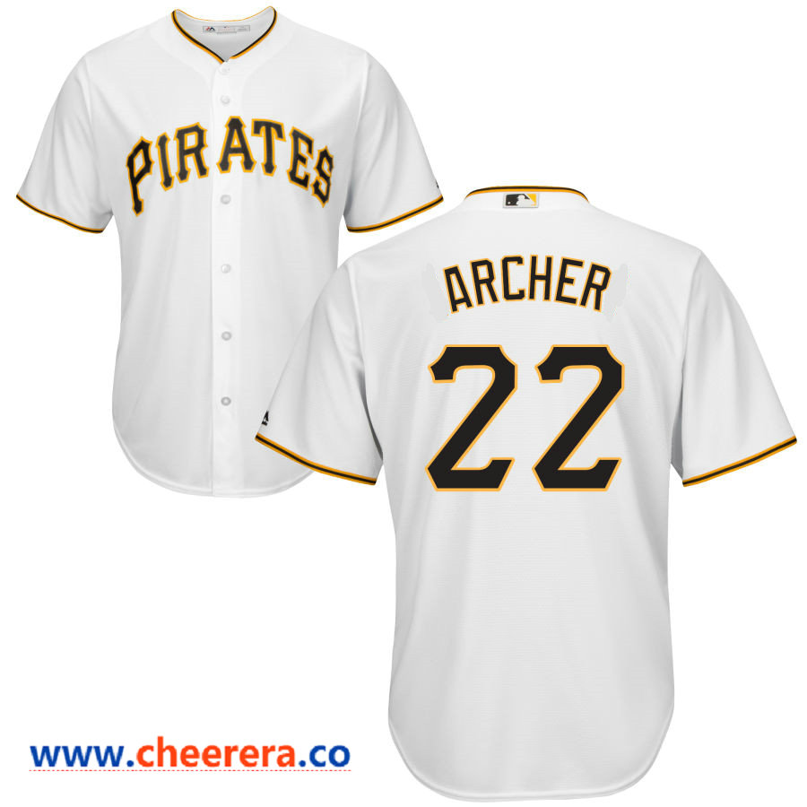 Men's Pittsburgh Pirates #22 Chris Archer Majestic White Home Cool Base Jersey