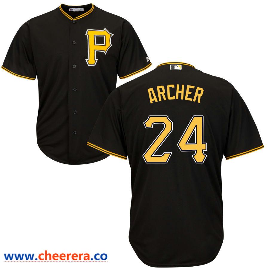 Men's Pittsburgh Pirates #24 Chris Archer Majestic Black Cool Base Jersey