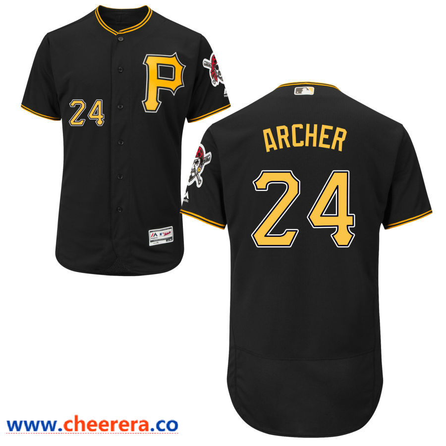 Men's Pittsburgh Pirates #24 Chris Archer Majestic Black Flex Base Jersey