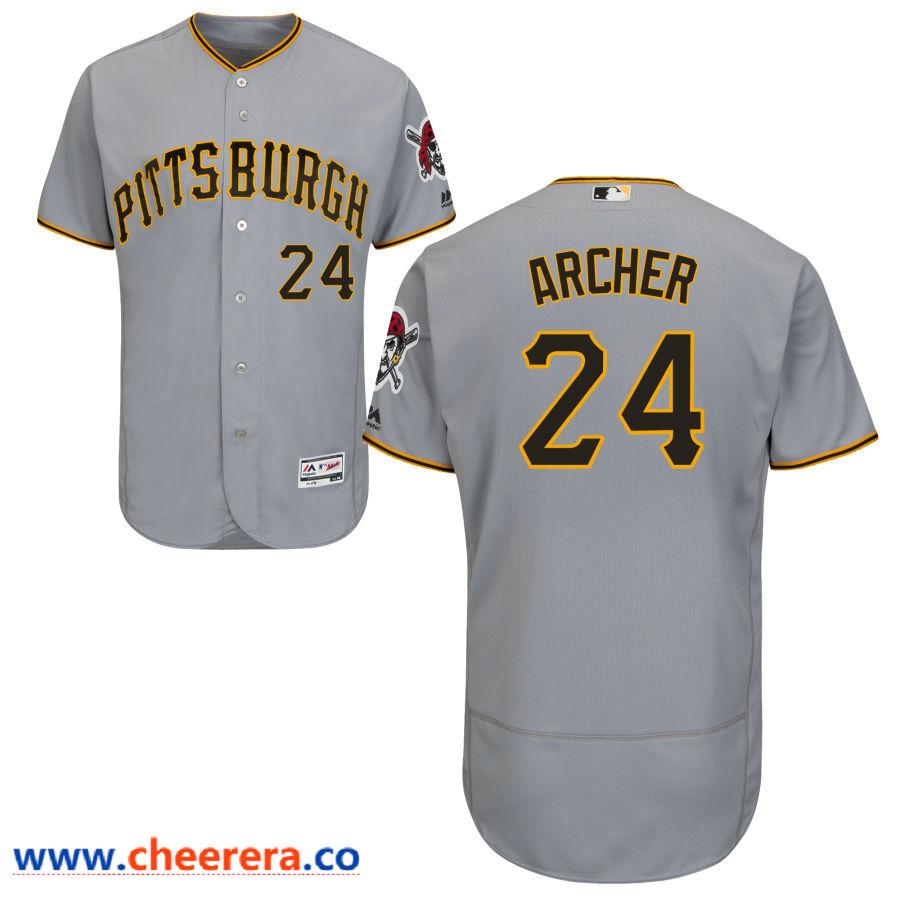 Men's Pittsburgh Pirates #24 Chris Archer Majestic Gray Flex Base Jersey