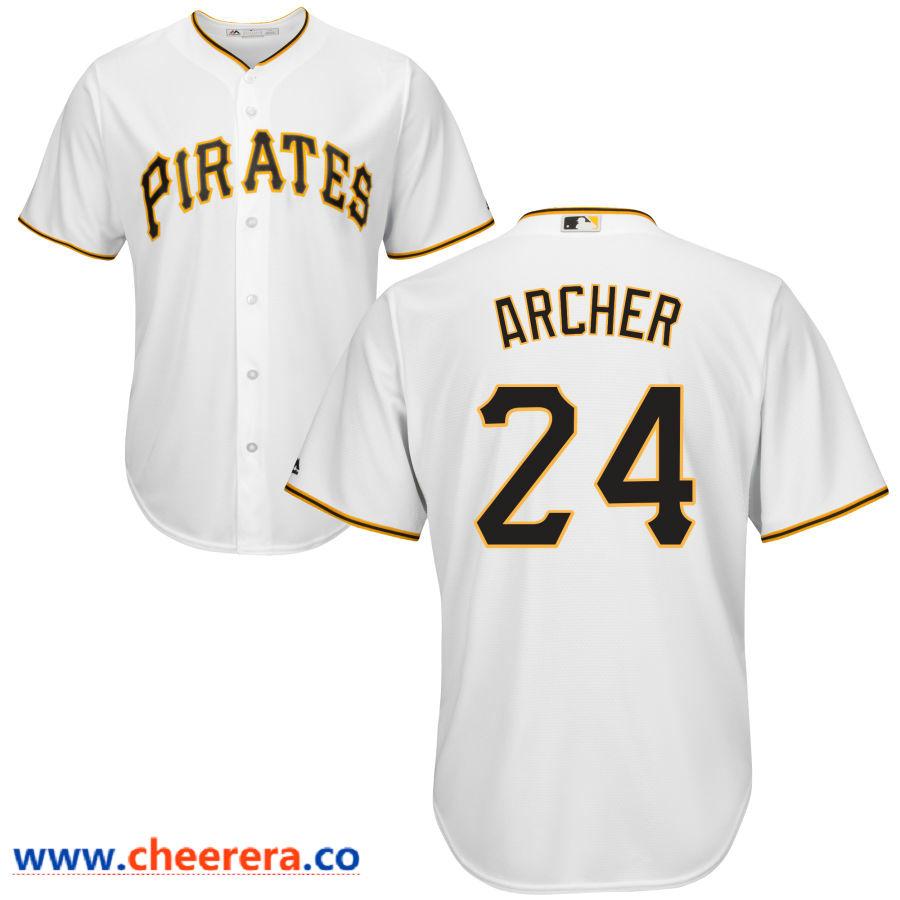 Men's Pittsburgh Pirates #24 Chris Archer Majestic White Cool Base Jersey