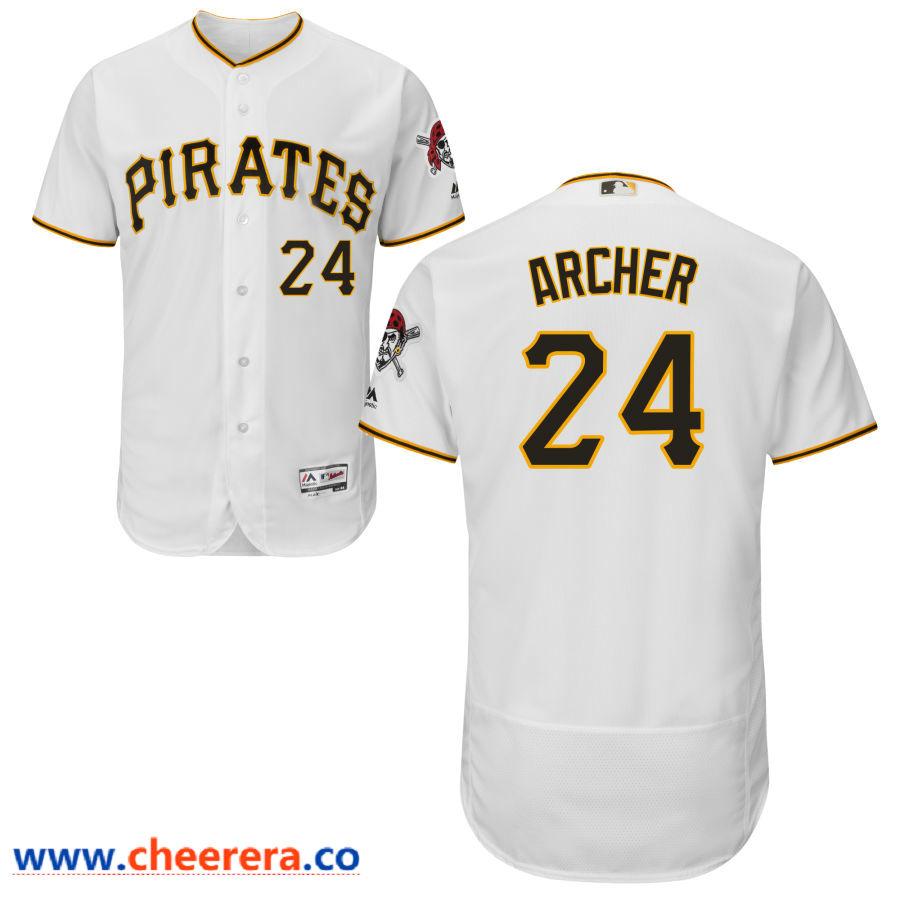 Men's Pittsburgh Pirates #24 Chris Archer Majestic White Flex Base Jersey