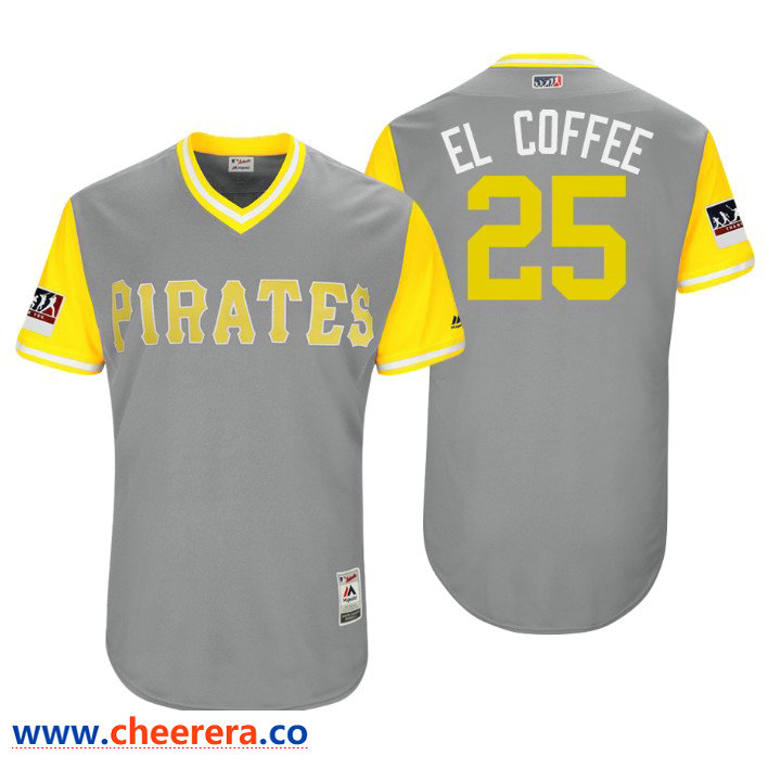 Men's Pittsburgh Pirates Authentic Gregory Polanco #25 Gray 2018 LLWS Players Weekend El Coffee Jersey