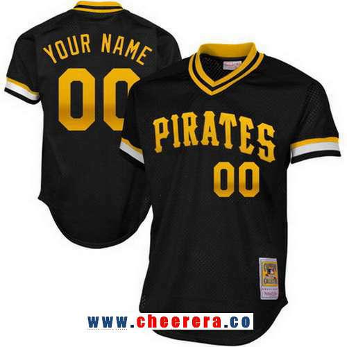 Men's Pittsburgh Pirates Black Mesh Batting Practice Throwback Majestic Cooperstown Collection Custom Baseball Jersey