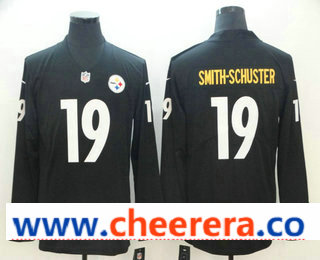 Men's Pittsburgh Steelers #19 JuJu Smith-Schuster Nike Black Therma Long Sleeve Limited Jersey