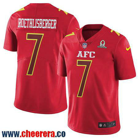 Men's Pittsburgh Steelers #7 Ben Roethlisberger Red AFC 2017 Pro Bowl Stitched NFL Nike Game Jersey